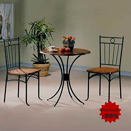 Amazon.com - Metal Dining Table Set Dining Table With 2 ...