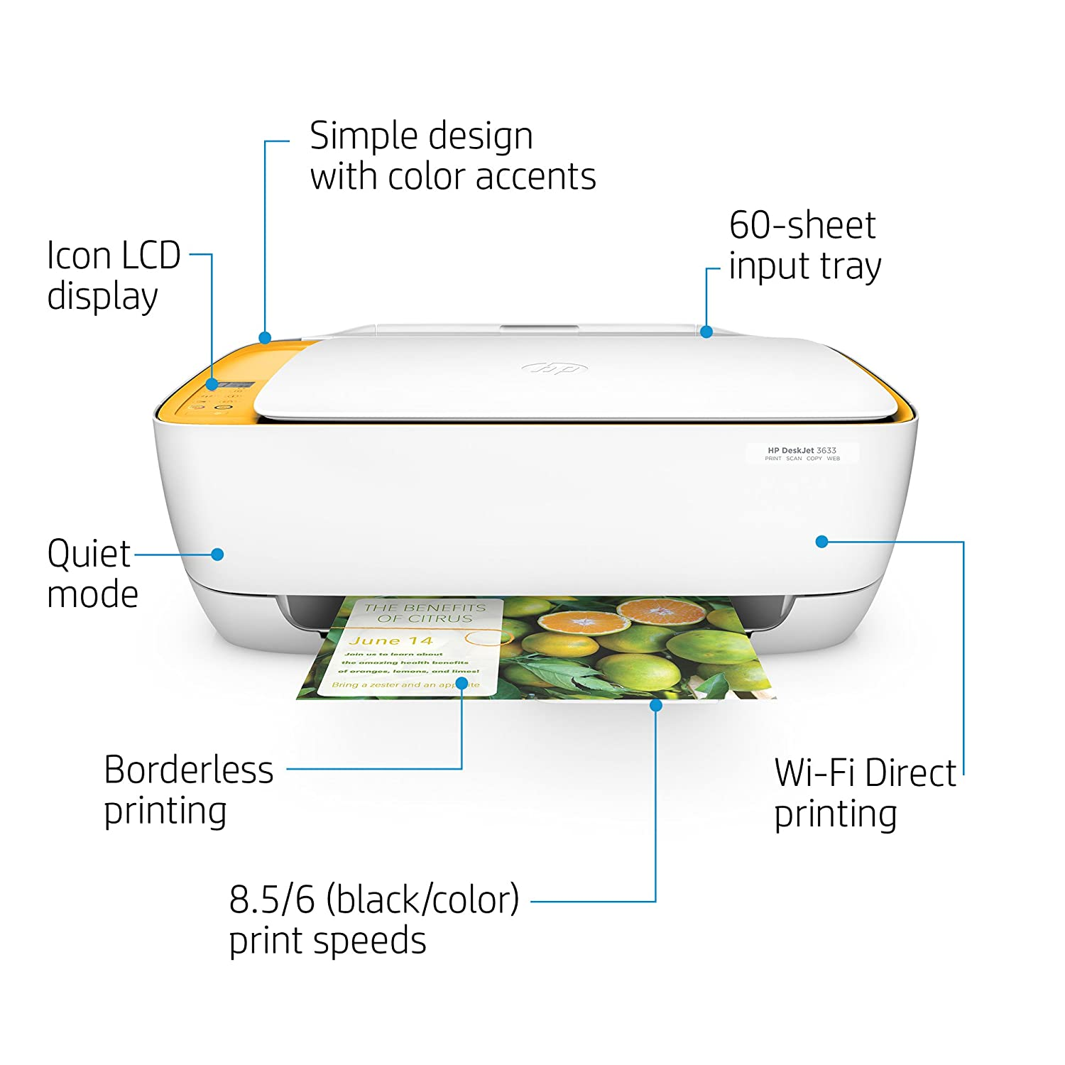 Amazon.com: HP DeskJet 3633 Compact All-in-One Wireless Printer with Mobile  Printing, HP Instant Ink & Amazon Dash Replenishment Ready (K4T95A):  Electronics