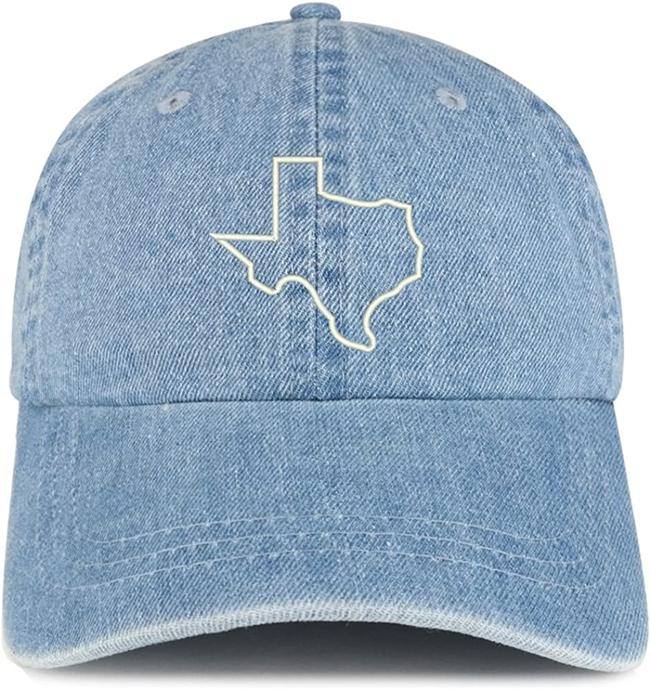 Trendy Apparel Shop Texas State Outline Embroidered 100% Cotton Denim Cap Dad Hat