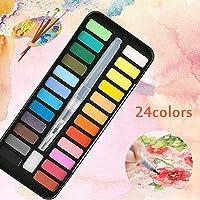 Manricle Pintura de Acuarela, Caja de Acuarelas, 24colors Pigmento Sólido Set, Perfectos para Principiantes Aficionados y Profesionales