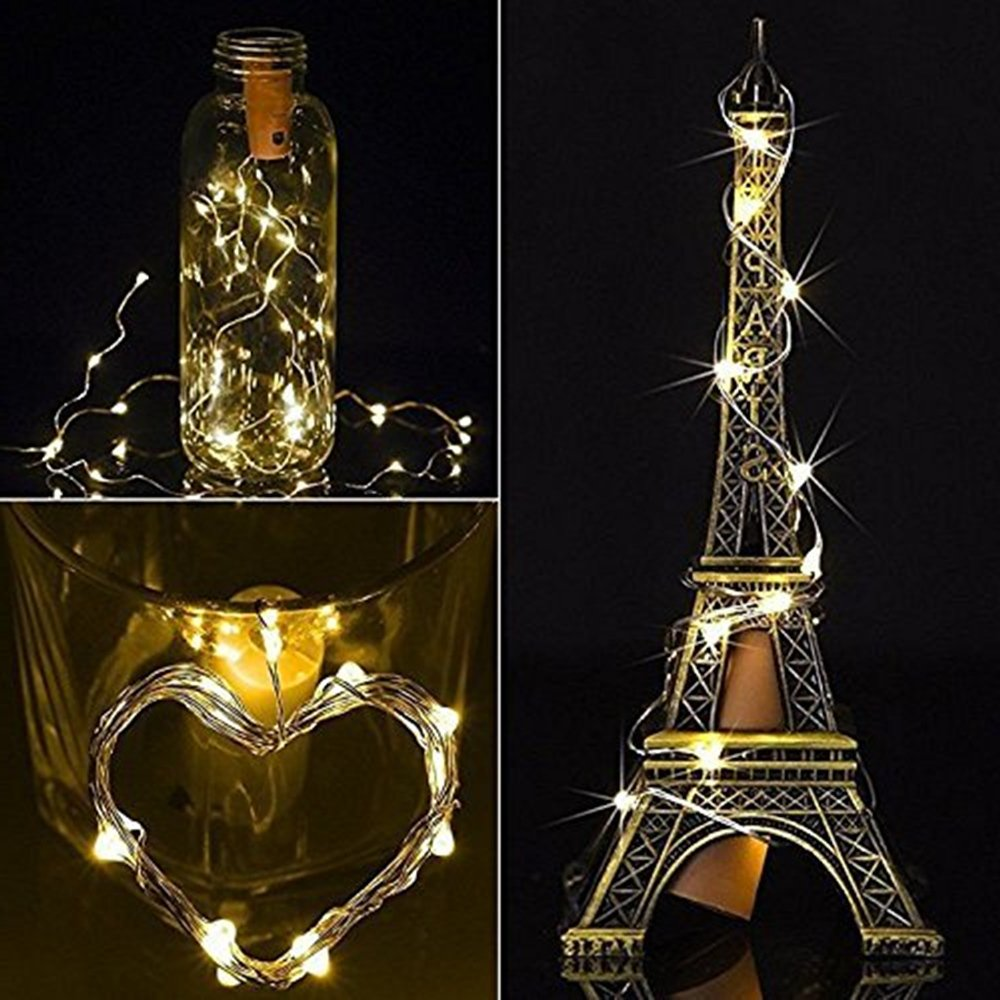 Botellas de vino Luces de cadena, Micro Fairy Decor Artificial Cork Copper Wire Starry Fairy Lights, Luces con pilas para dormitorio, boda, fiestas, ...