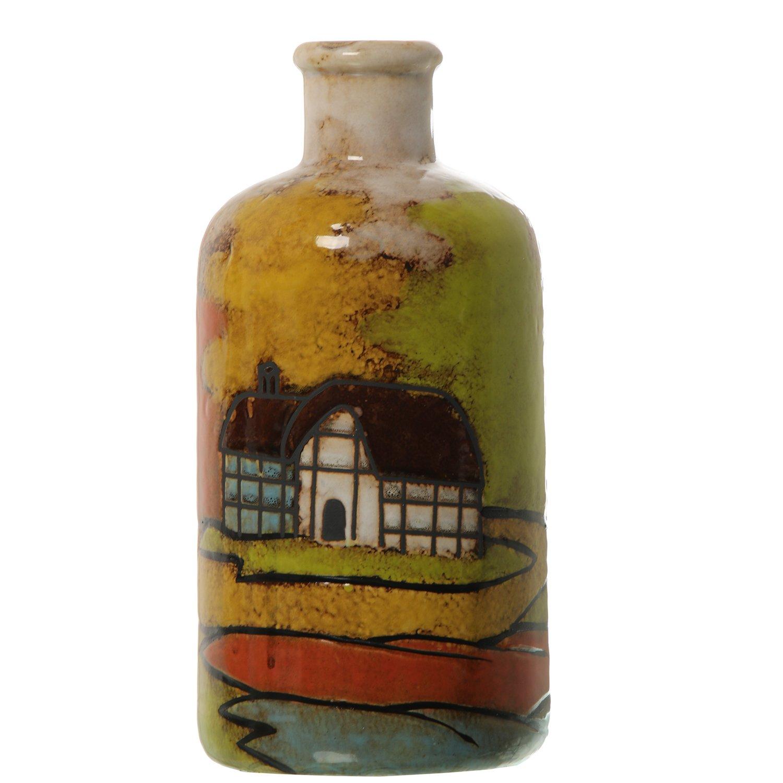 DonRegaloWeb - Jarrón de cerámica con forma de botella de cerámica decorado con casas y con varios colores: Amazon.es: Hogar
