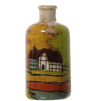 DonRegaloWeb - Jarrón de cerámica con forma de botella de cerámica decorado con casas y con