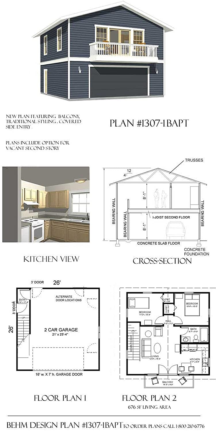 Amazon Com Garage Plans 2 Car With Full Second Story 1307 1bapt 26 X 26 Two Car By Behm Design Home Kitchen