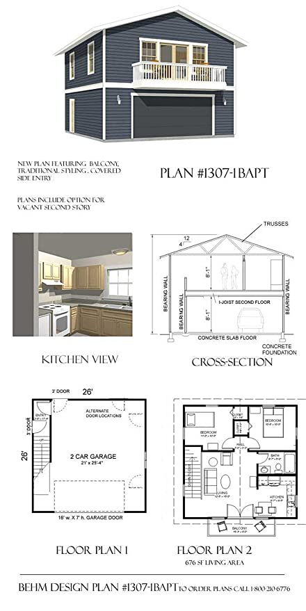 Amazon.com: Garage Plans : 2 Car With Full Second Story - 1307-1bapt ...