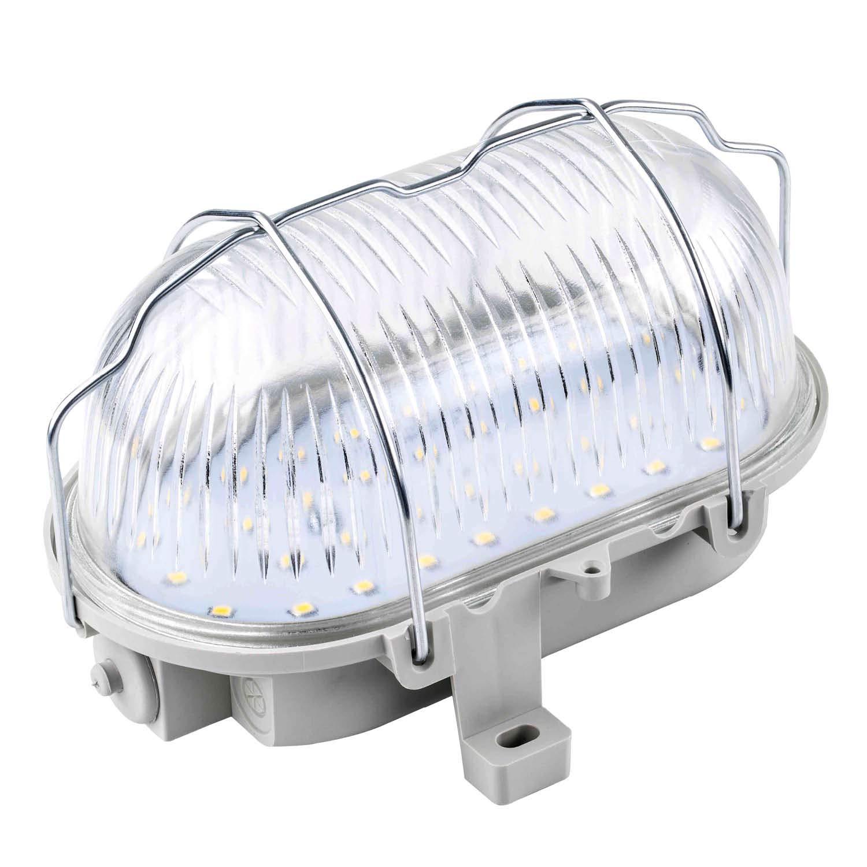 as - Schwabe Ovalleuchte – Gitterleuchte bis 60 W - Gehäuse für LED Spot - Deckenleuchte/Wandleuchte für Außenbereich & Innenbereich – Fassung für Feuchtraum Lampe - Made in Germany - Grau I 56200