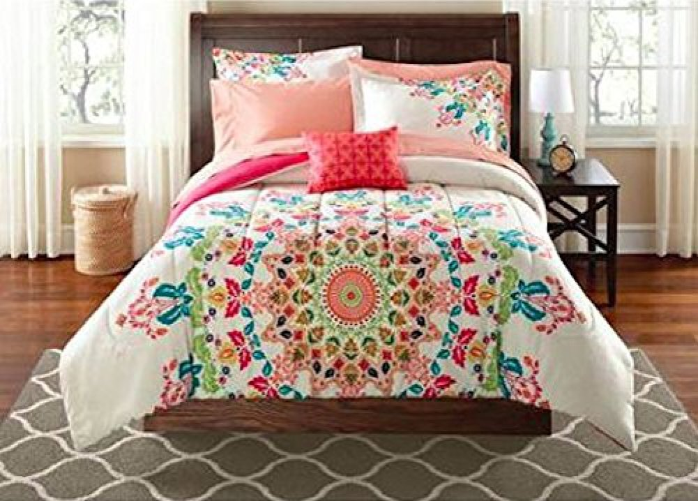 Teen Girls Twin/Twin XL Rainbow Unique Prism Pink Blue Green Colorful Pattern Bedding Set