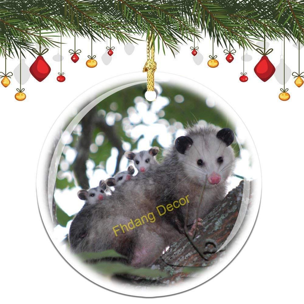 Fhdang Decor Possum Christmas Ornament Porcelain Double-Sided Ceramic Ornament,3 Inches