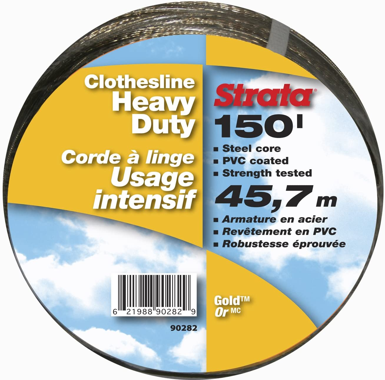 Heavy Duty Steel Core Strata 150 Gold Clothesline PVC Coating