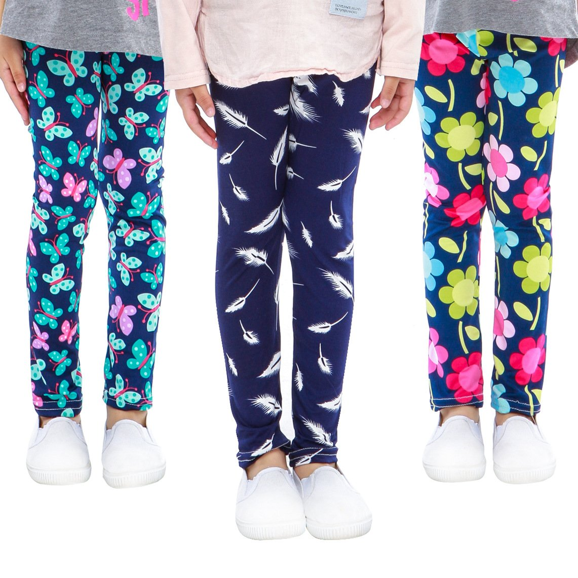 slaixiu 3-Pack Printing Flower Girl Leggings Kids Classic Pants 4-13Y(FHM_6-7,70#)