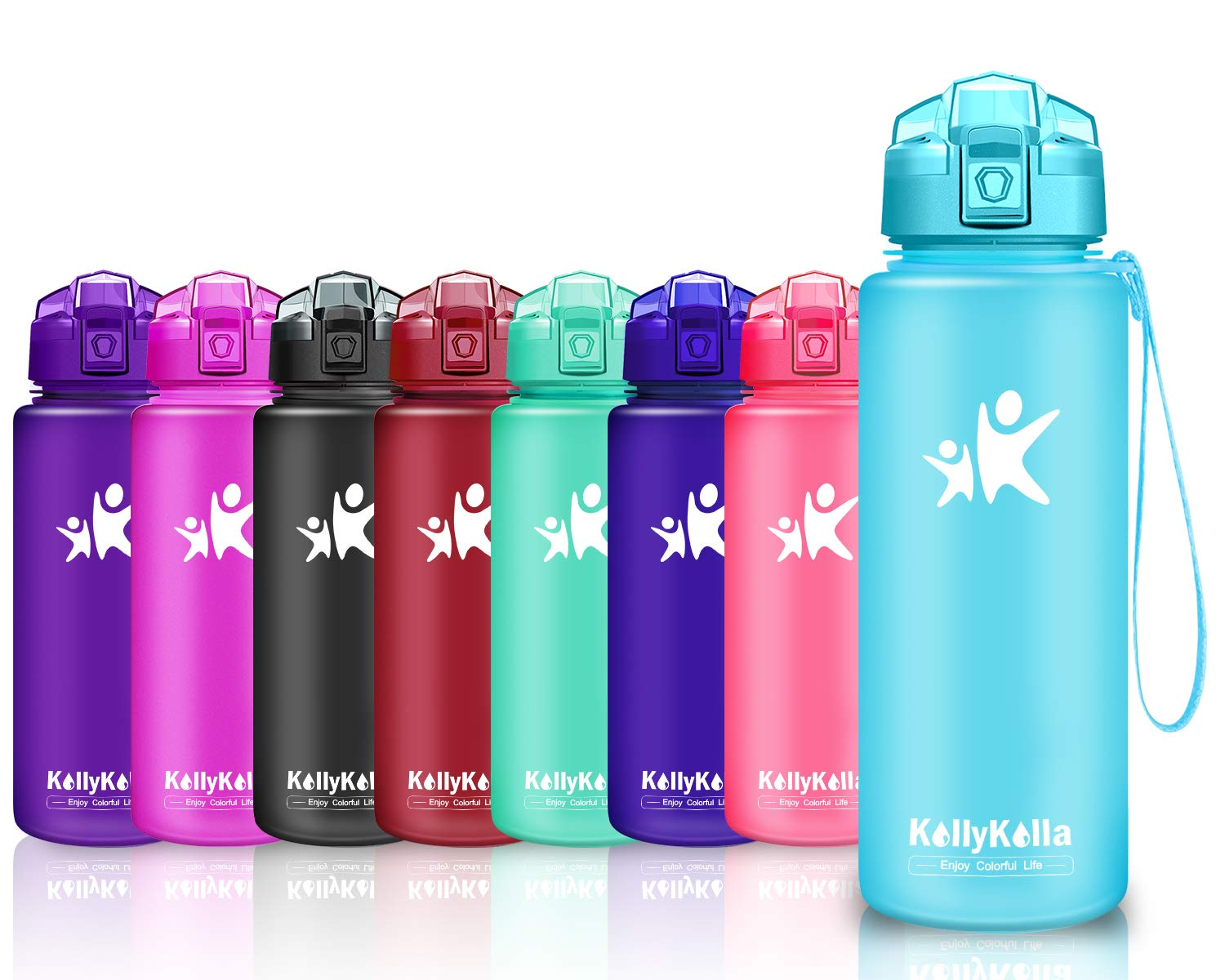 KollyKolla Sports Water Bottle 1 L//32 oz,25 oz,17 oz Large BPA Free Reusable Water Bottle with Time Marker,Kids//Adults Leakproof Drink Bottle with Flip Top Lid for Fitness Workout Gym Bike Running