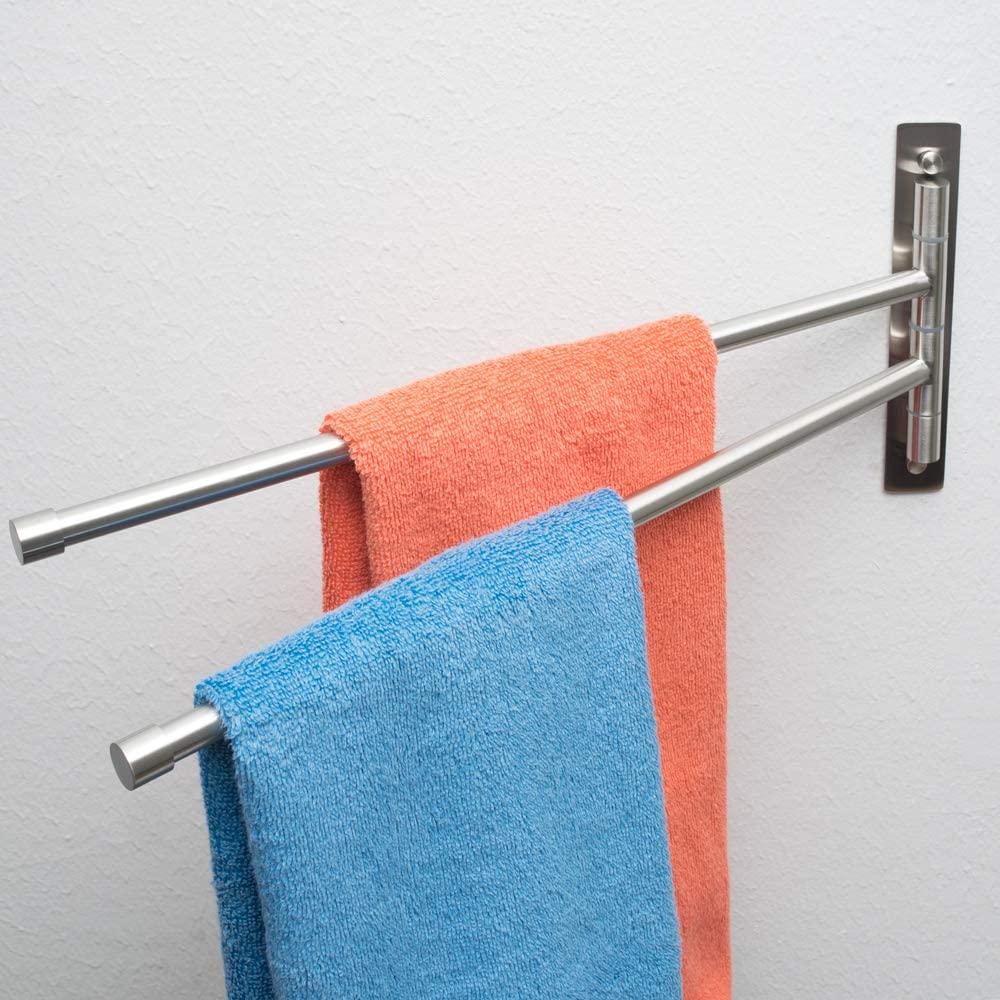Polished Finish 20X10 Space Saving Swinging Towel Bar for Bathroom Wall Mounted Towel Holder Organizer- Easy To Install Stainless Steel Swing Out Towel Bar Towel Racks for Bathroom