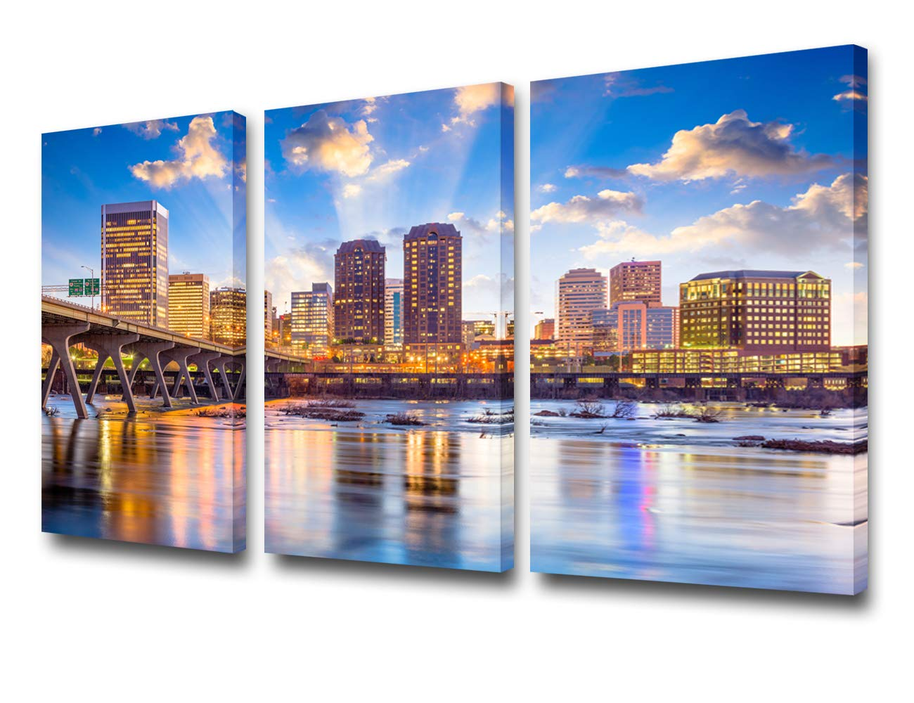 TUMOVO 3 Piece Canvas Wall Art for Living Room - Richmond, Virginia, USA Downtown Skyline on The James River - Modern Home Decor Stretched and Framed Ready to Hang - 24'' x 12'' x 3 Panels