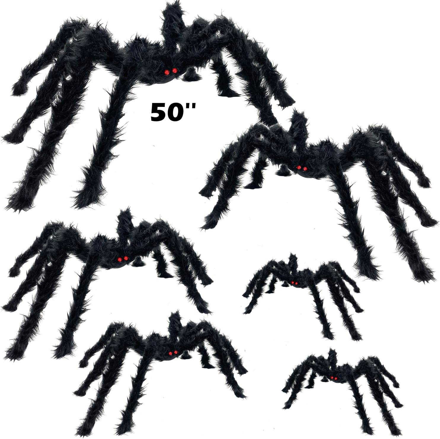 """AMENON 6Pcs Halloween Spider Decorations 50"""" 36"""" 30"""" 20"""" 12"""" Giant Scary Halloween Props with Red Eyes,Realistic Hairy Large Spiders Set Tree Window Wall Yard Party Haunted House Indoor Outdoor Decor"""