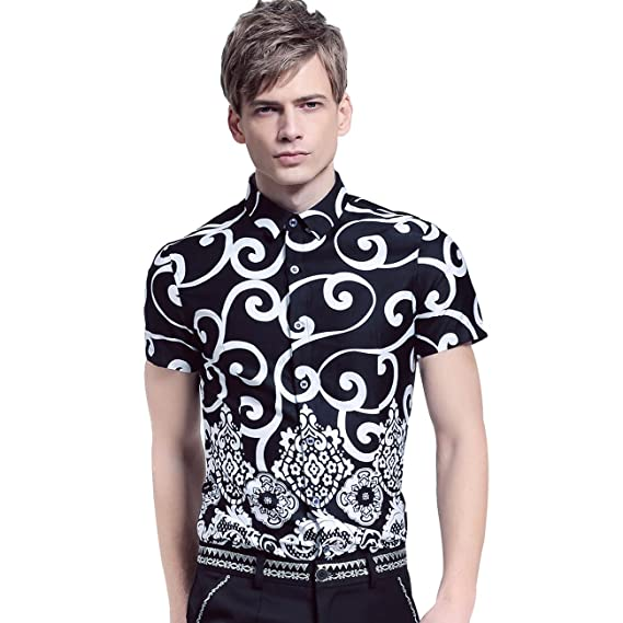 284888a5a1d FANZHUAN Short Sleeve Button Down Shirts for Men Fancy Printed Slim Fit  Graphic  Amazon.co.uk  Clothing