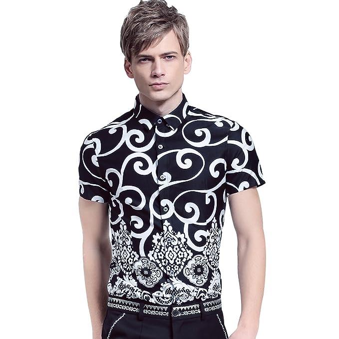 Hombre Fit Floreada Slim Estampados Fanzhuan Camisas Camisa Vestir P8OkXnw0