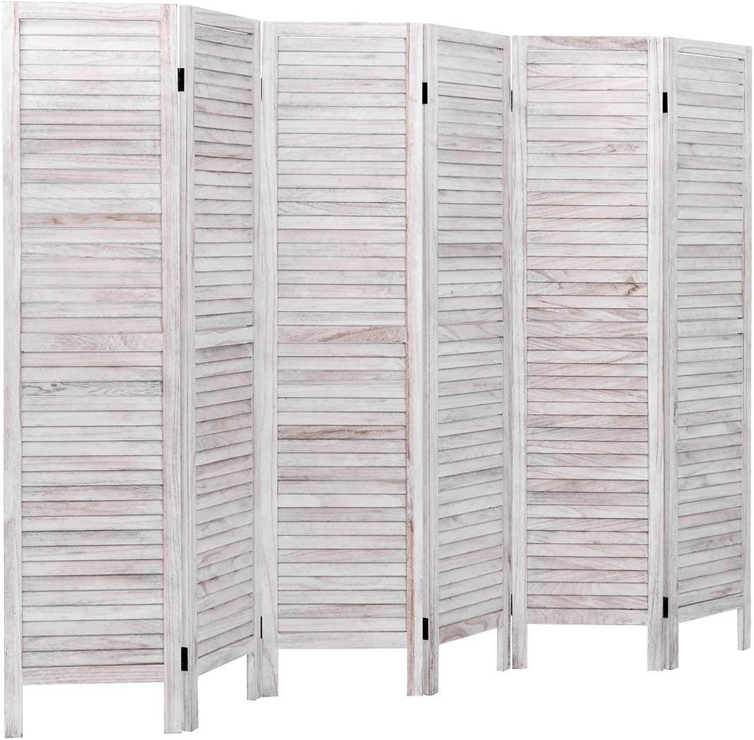 Giantex 6 Panel Folding Room Divider Screen, 5.6 Ft Tall Wood Oriential Freestanding Partition Privicy Room Divider for Home, Office, Restaurant, Bedroom (White)