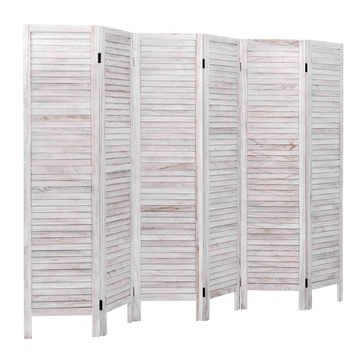 Giantex 6 Panel Wood Room Divider Screen, 5.6 Ft Tall Oriental Folding Freestanding Partition Privicy Room Divider for Home, Office, Restaurant, Bedroom (White) by Giantex