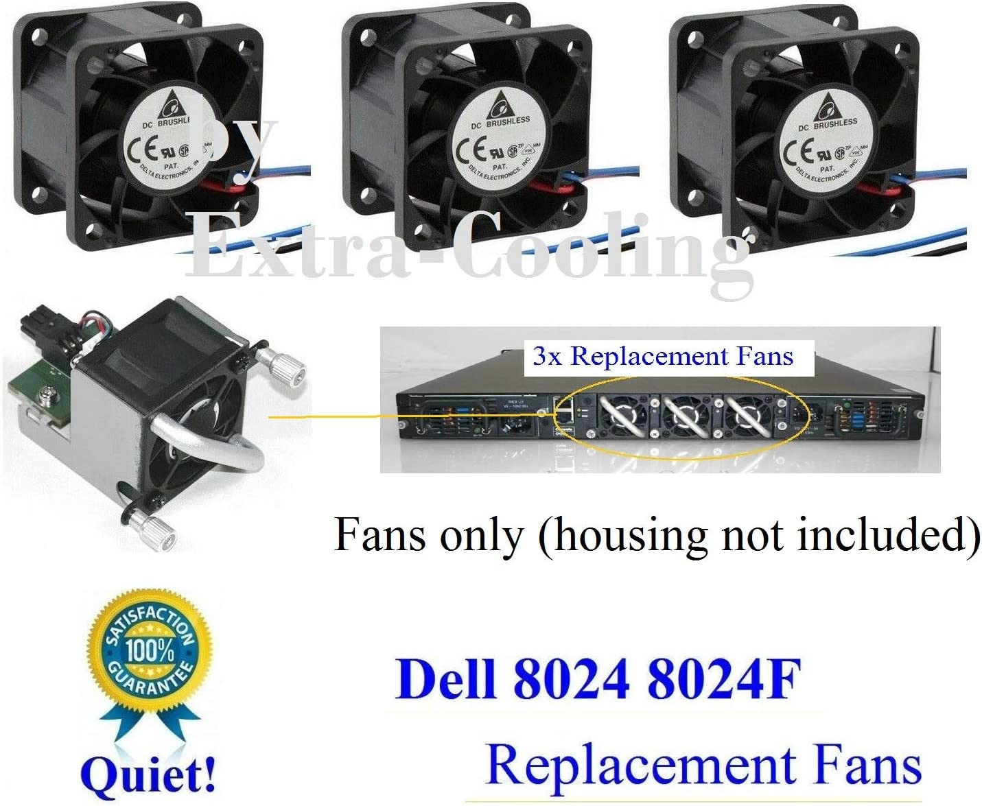 3 Pack Extra-Cooling Quiet Version Replacement (Fans only) for PowerConnect 8024 8024F Fan Assembly