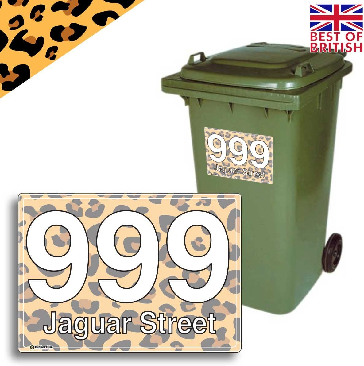 4 Pack Size A5 JAGUAR Personalised Wheelie Bin Sticker//Vinyl Labels with House Number /& Street Name