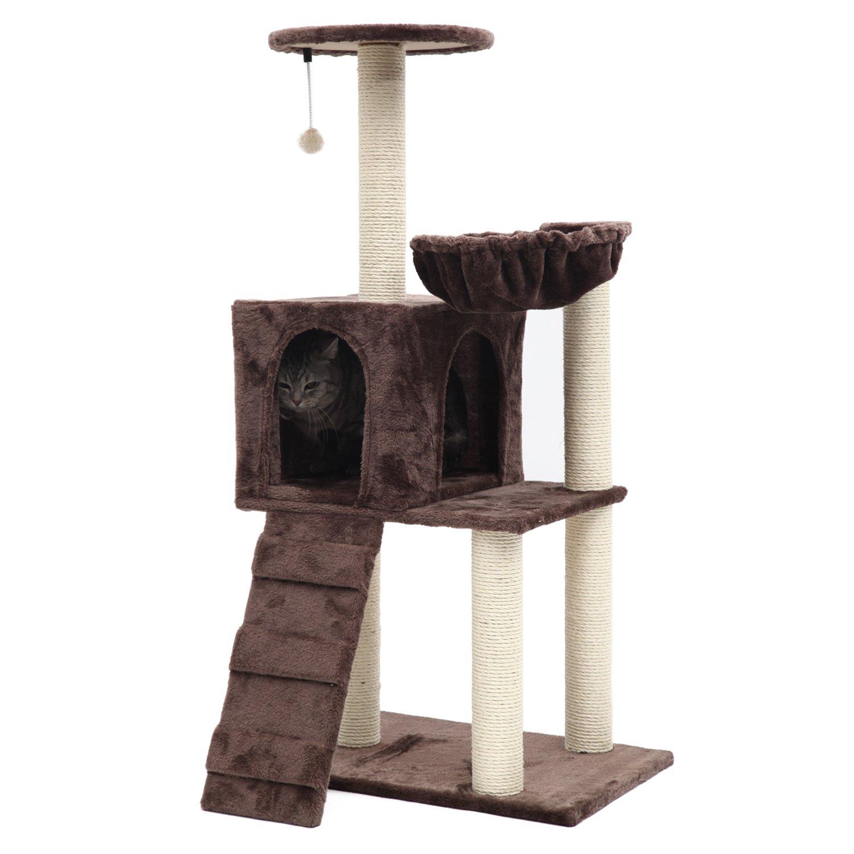 PGFUN 46'' Cat Tree Cat Scratching Post Cat Furniture Coffee