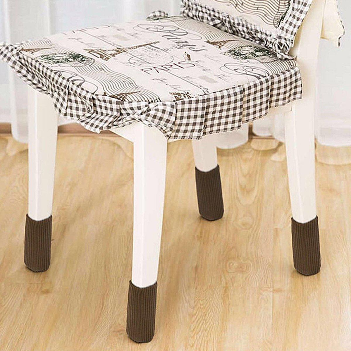 24pcs Chair Socks Brown Elastic Wood Floor Furniture Chair Leg Feet Protectors Covers Caps Set