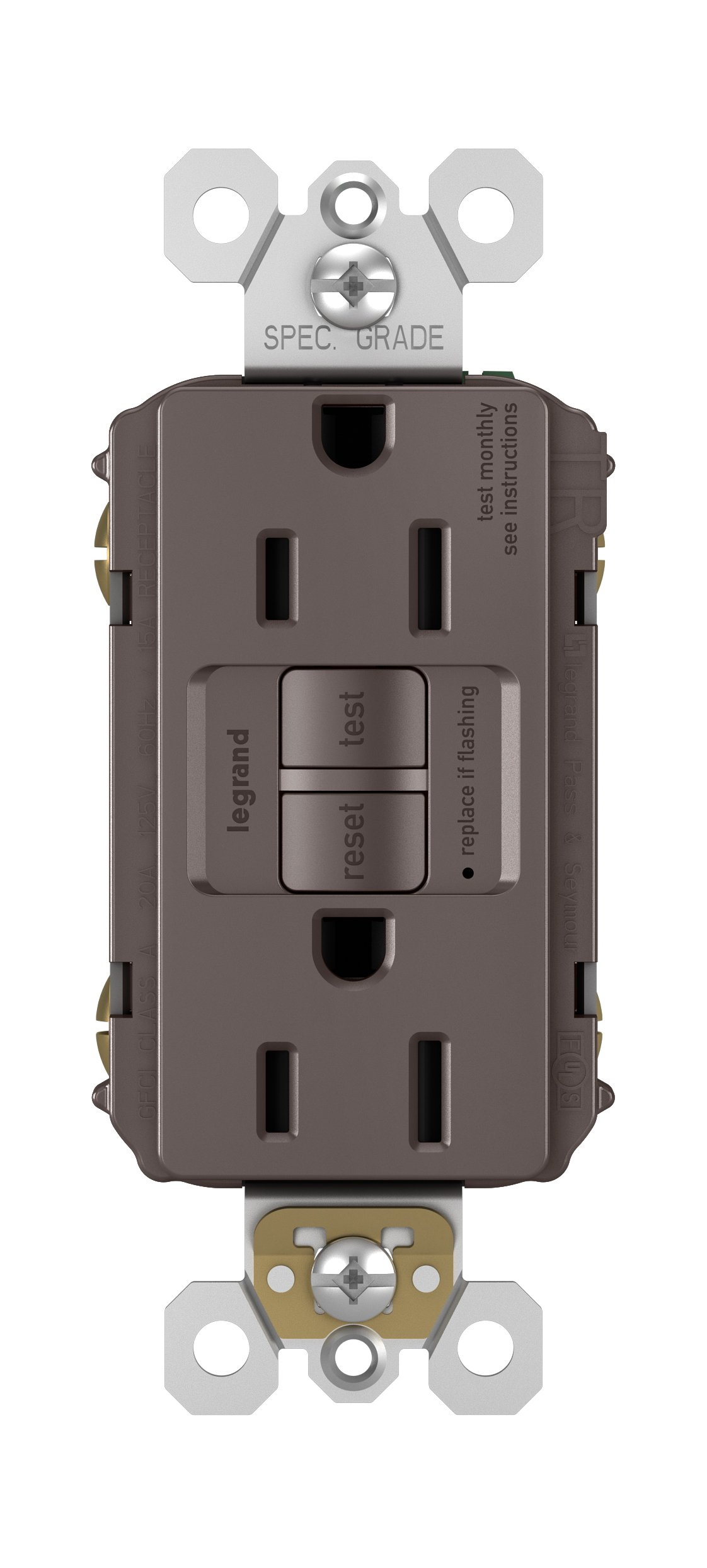 Legrand-Pass & Seymour 1597TRCC4 Self-Test GFCI Receptacle Outlet with Wall Plate, 15Amp 125V, Brown