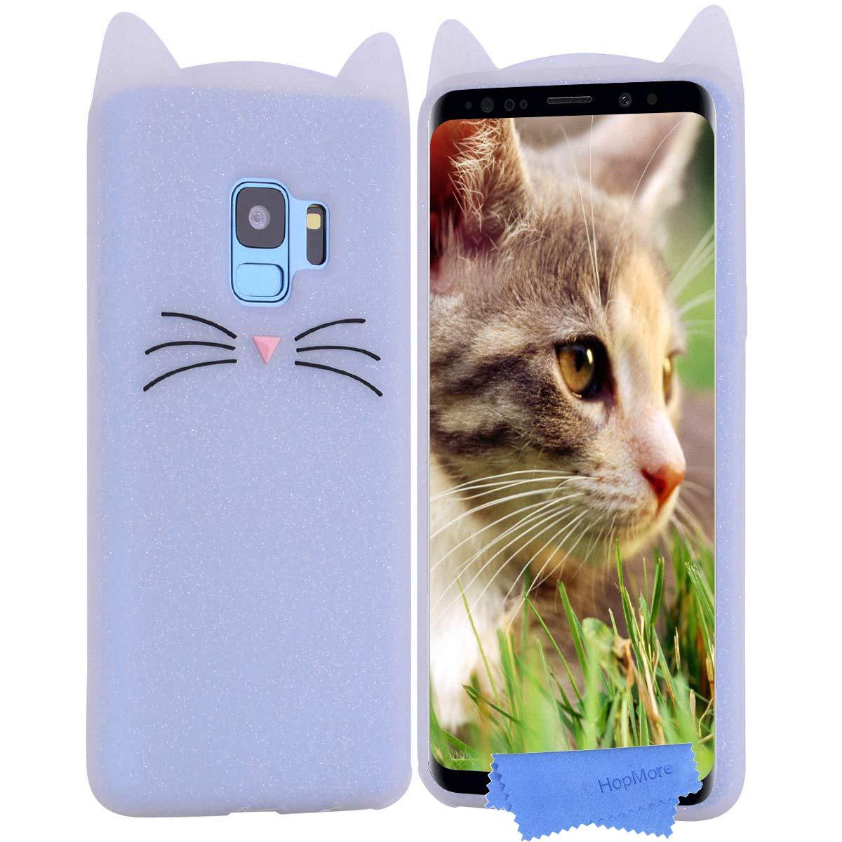 HopMore Compatible pour Coque Samsung Galaxy S9 Silicone Souple Chat 3D Design Motif Drôle Mignonne Etui Samsung S9 Étui Antichoc Ultra Mince Fine Etui Housse Protection pour Fille Femme - Rose