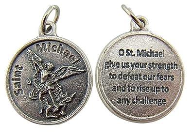 Amazon archangel saint st michael with prayer protection medal archangel saint st michael with prayer protection medal pendant 34 inch aloadofball Choice Image