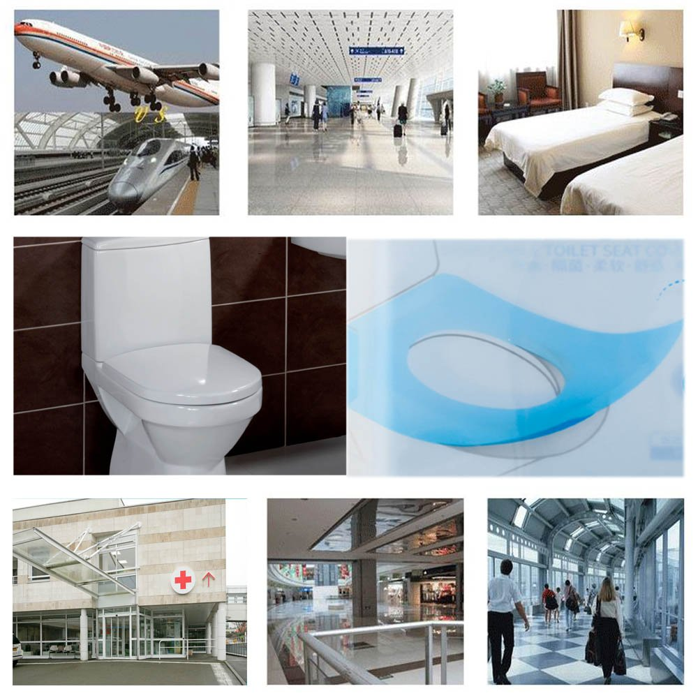 40PCS Water Proof Anti-bacterial Disposable Paper Toilet Seat Covers Pocket Size Portable Travel Washroom Seat Cover Single Packed Public Restrooms Protectors,18.1x15.8 inch by Starly (Image #5)