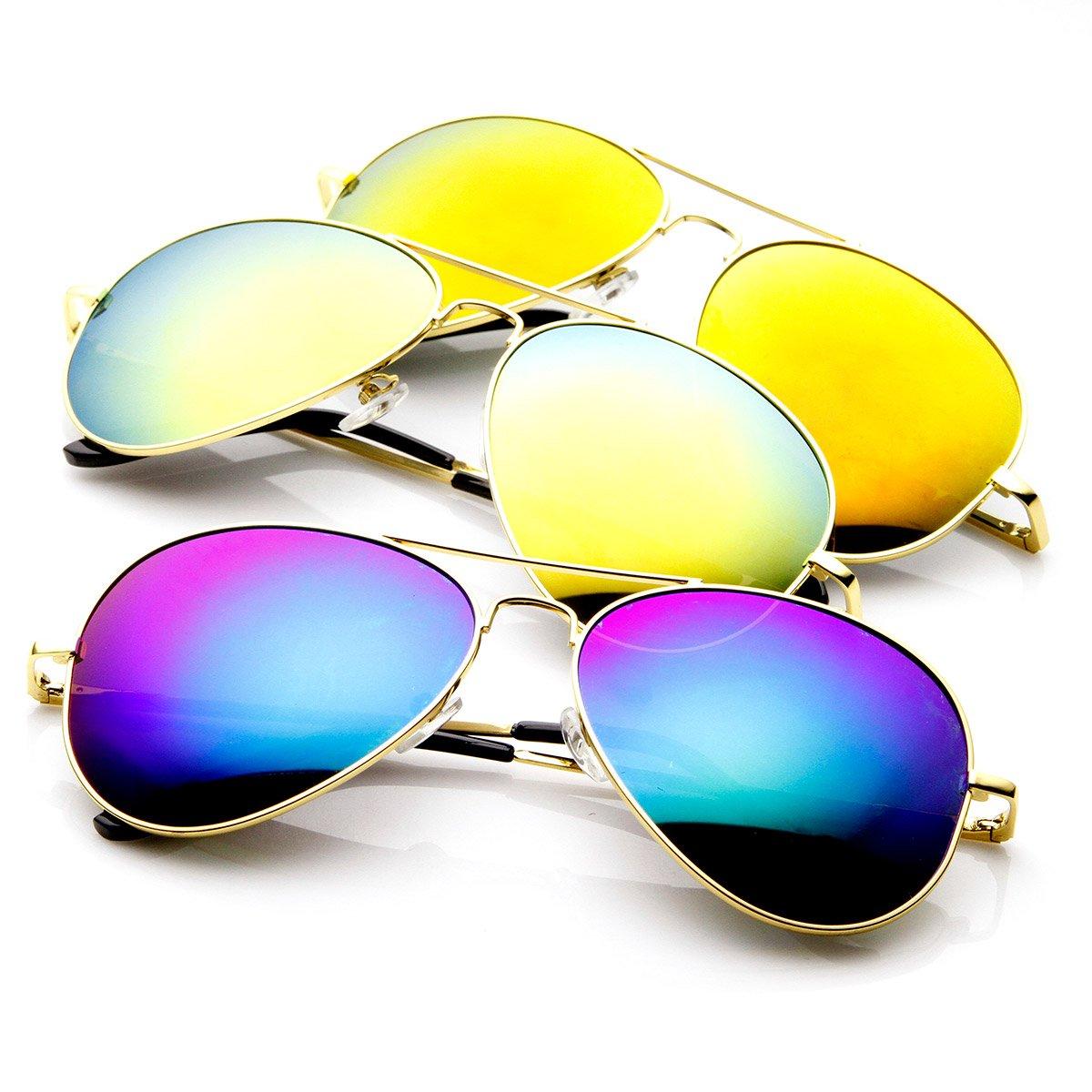 zeroUV - Classic Metal Frame Spring Hinges Color Mirror Lens Aviator Sunglasses 56mm frame&optic 1486