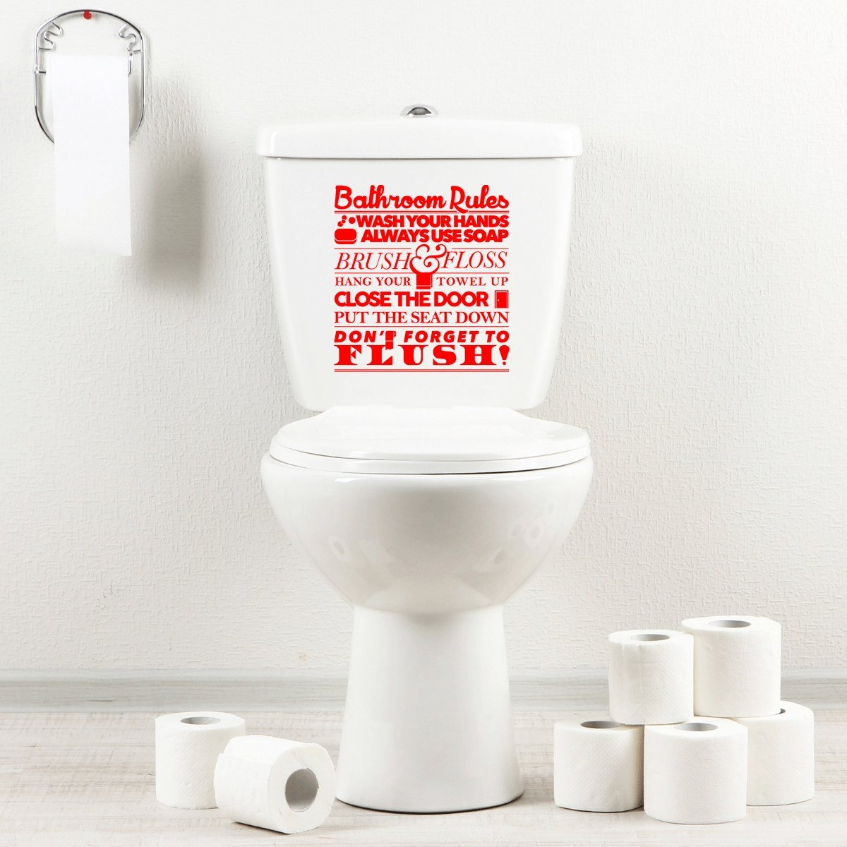 StickAny Bathroom Decal Series Bathroom Rules 1 Sticker for Toilet Bowl, Bath, Seat (Blue)
