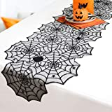 N/J Halloween Tablecloth Halloween Decoration Black Lace Round Runner Table Linens Topper for Halloween Party Dinner…