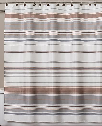 Amazon Saturday Knight Colorware Stripe Shower Curtain Neutral