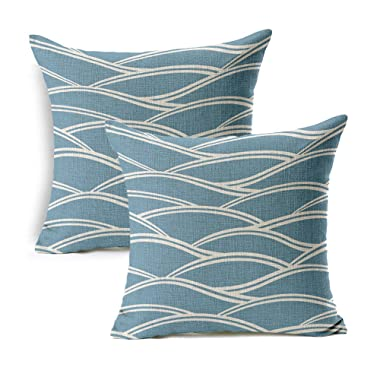 WOMHOPE 2 Pcs - 18  Blue Ocean Waves Printing Cotton Linen Throw Covers Throw Covers Square Throw Pillow Covers Cushion Cover Pillowcase for Couch (A)