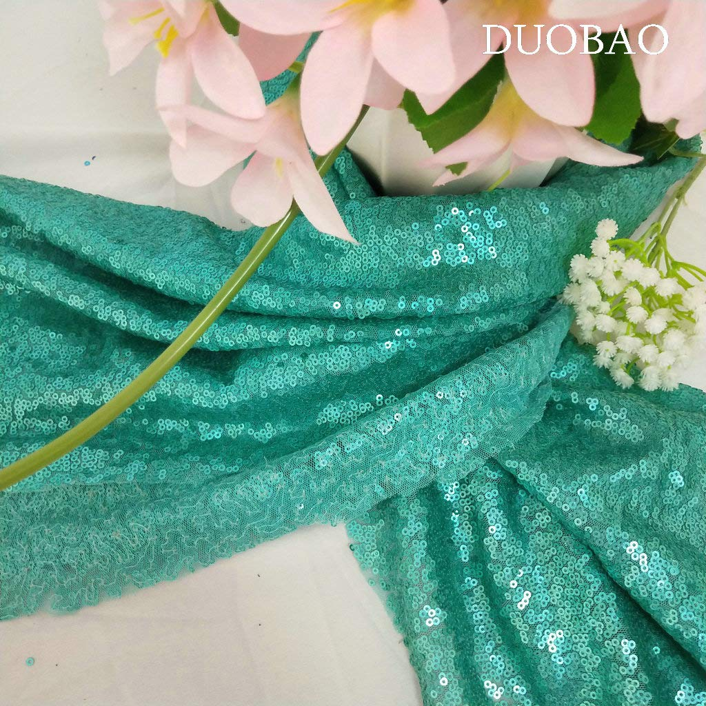 DUOBAO Sequin Fabric for Sewing Glitter Backdrop Matte Green 10 Yards Sequin Material Fabric 2 Way Stretch Sequin Fabric by The Yard