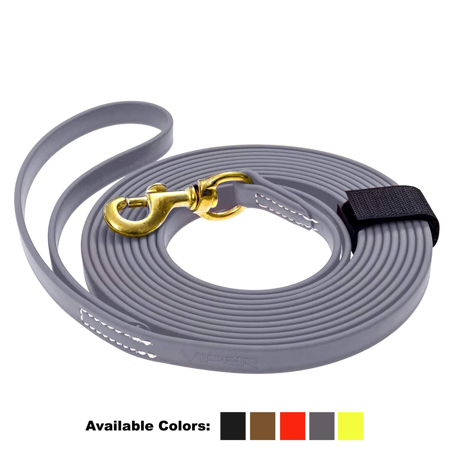 Viper Biothane K9 Working Dog Leash Waterproof Lead for Tracking Training Schutzhund Odor-Proof Long Line with Solid Brass Snap for Puppy Medium and Large Dogs 0.62 in Wide by 33 ft Long Grey