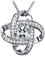 """ZENI 925 Silver Necklace Women 3A 6mm Cubic Zirconia Gemini Twisted Pendant Italy 18"""" Chain Exquisite Box"""
