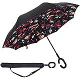 Paraguas Invertido,Plegable,reversible,con mango en forma de C invertida Paraguas de