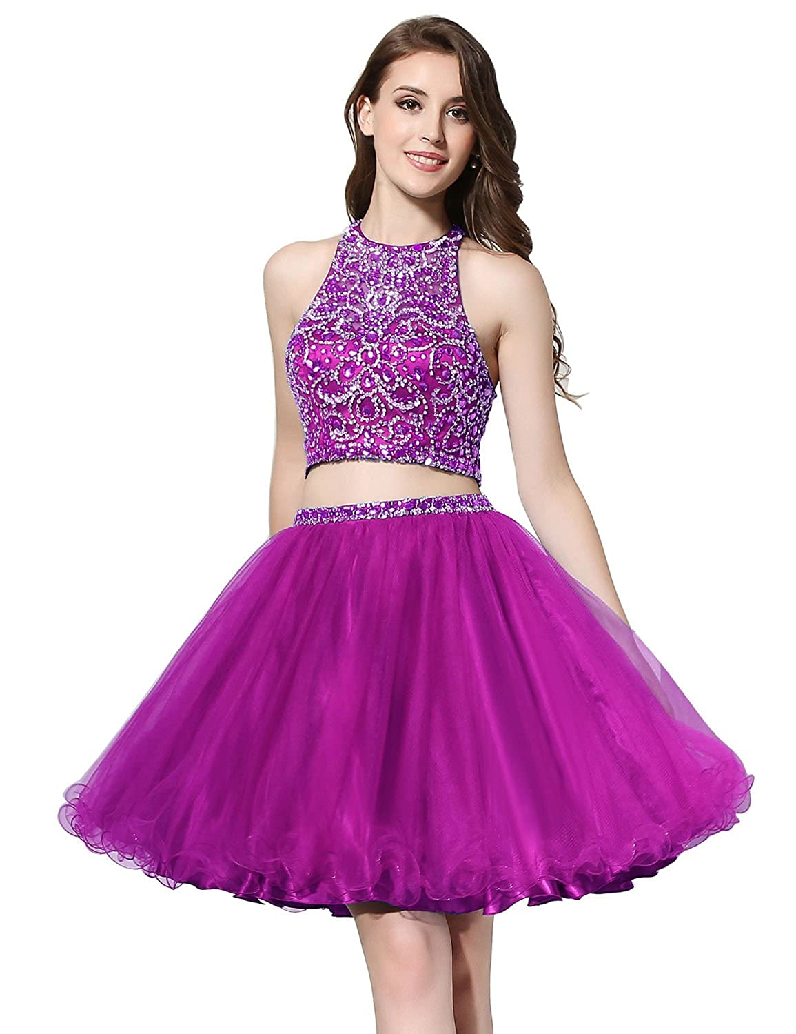206fuchsia Sarahbridal Women's Short Tulle Beading Homecoming Dresses 2019 Prom Party Gowns