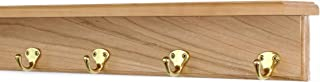 """product image for Solid Cherry Shelf Coat Rack with Solid Brass Single Style Hooks (Natural, 21"""" with 4 hooks)"""