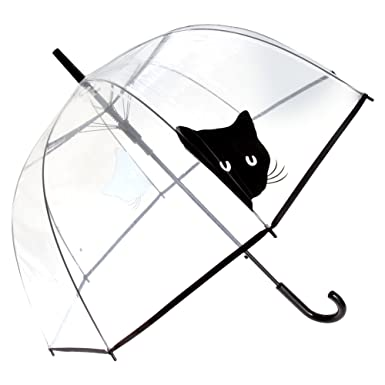 X-brella - Paraguas transparente con gato negro (Talla Única/Transparente/Cara