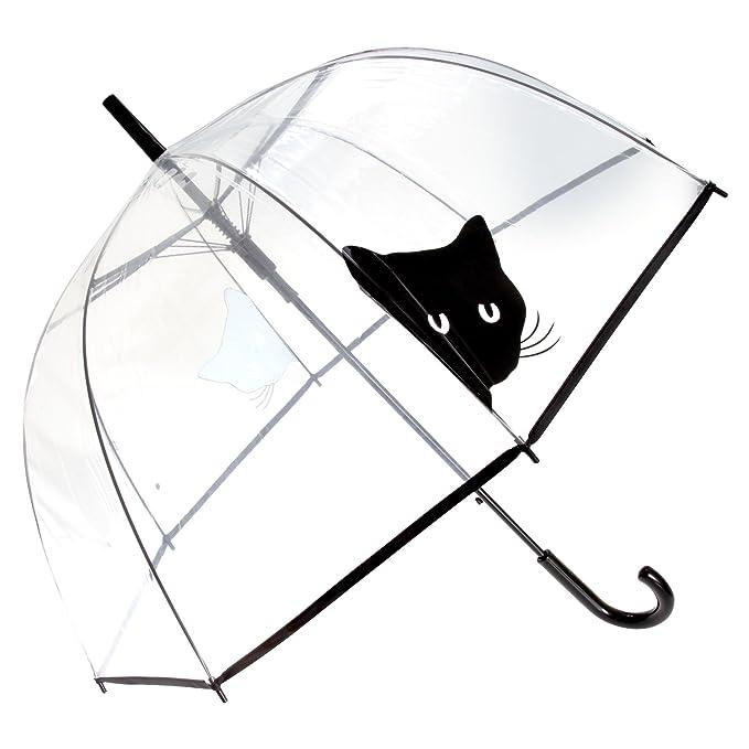 X-brella - Paraguas transparente con gato negro (Talla Única/Transparente /Cara
