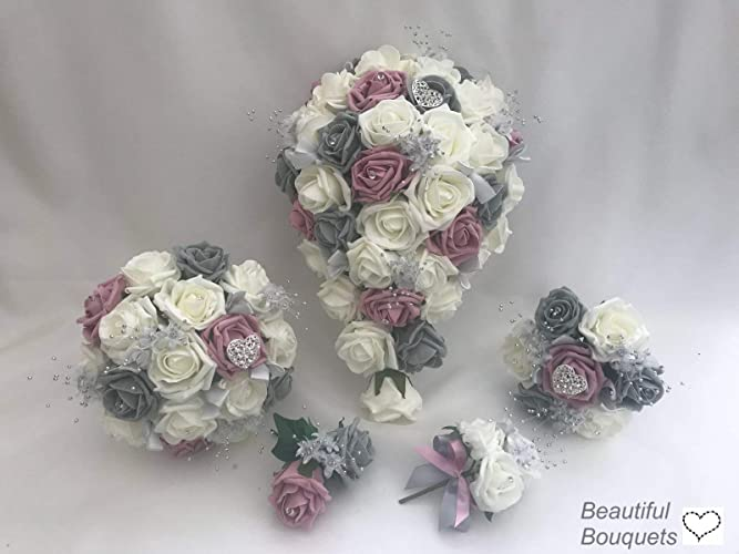 Artificial Wedding Flowers Bouquets Grey With Dusky Pink Amazon