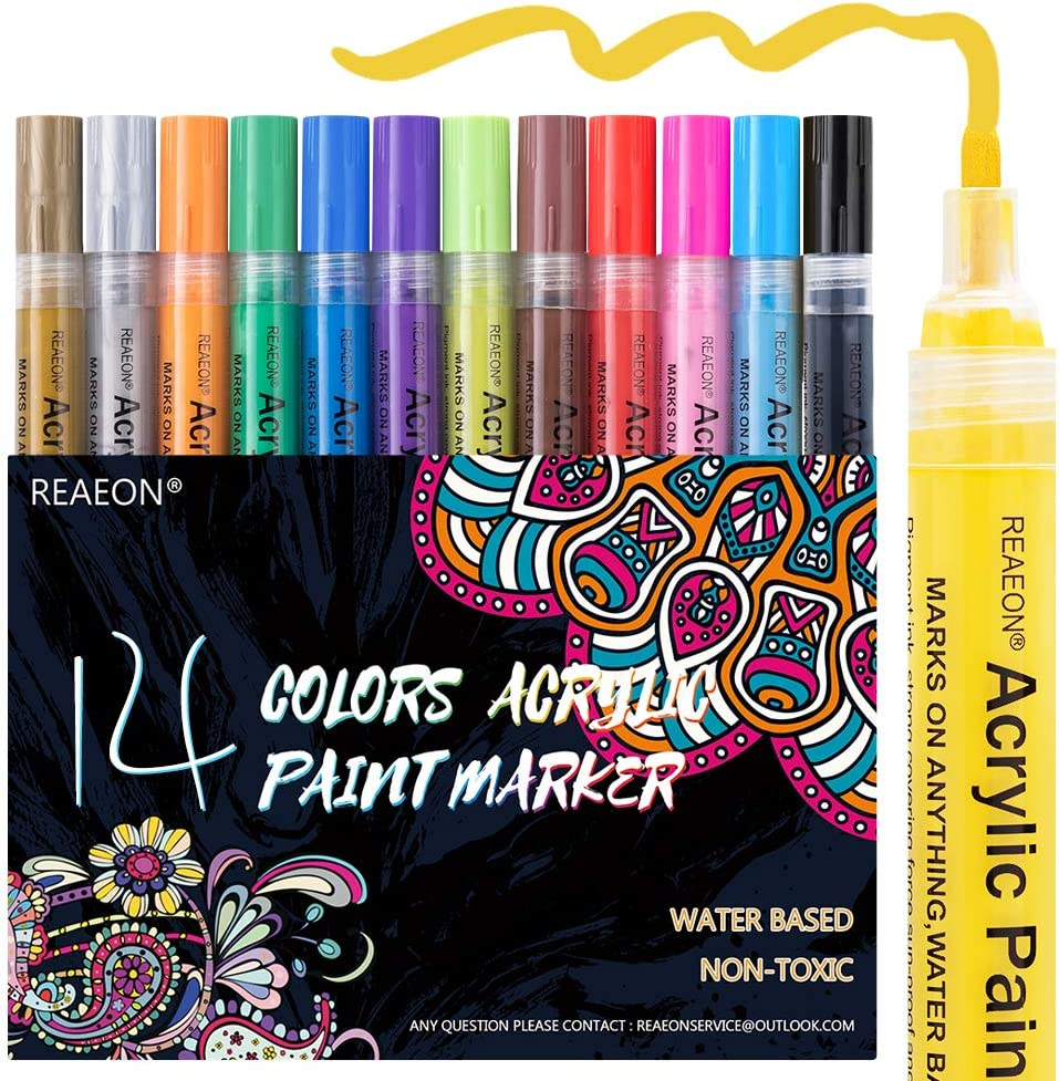 Paint Pens for Rock Painting, Stone, Ceramic, Glass, Wood, Canvas, Acrylic Paint Markers Pen Medium Tip Set of 14 Colors - DIY Craft Making Supplies