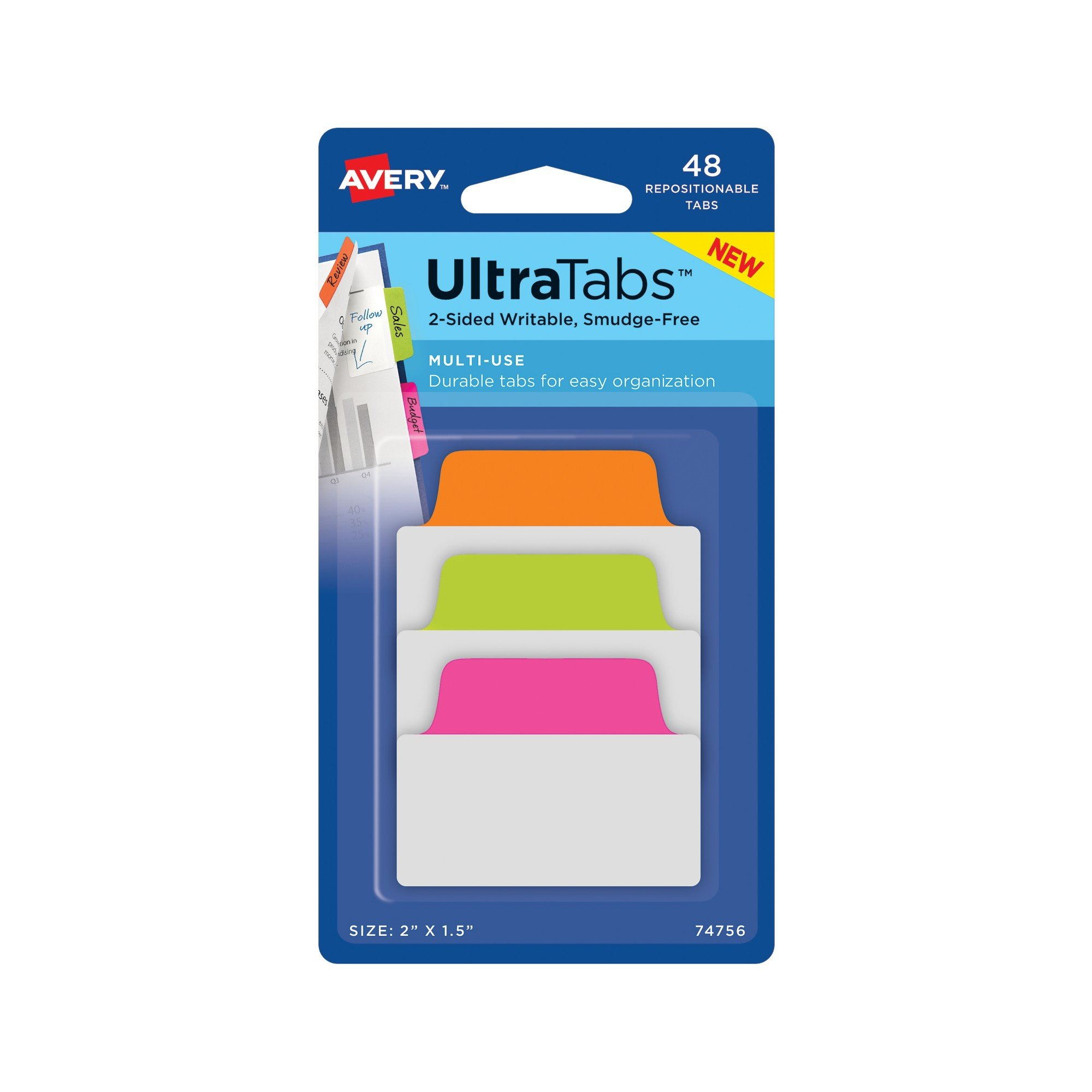 Avery Multiuse Ultra Tabs, 2'' x 1.5'', 2-Side Writable, Neon Pink/Green/Orange, 48 Repositionable Tabs (74756)