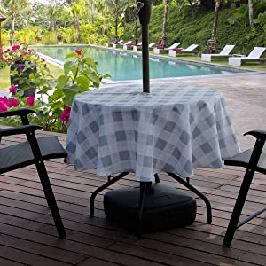 AooHome Buffalo Plaid Tablecloth, Fabric Water Resistant Spill-Proof Table Cover with Zipper and Umbrella Hole for Family Gathering and Picnic, Machine Washable, Heavy Duty, 60 Inch Round, Grey