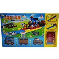 RV Media Happy Travel Battery Operated Thomas Style Train Track Toy Set with Music Function, Flashing Lights and Train Voice