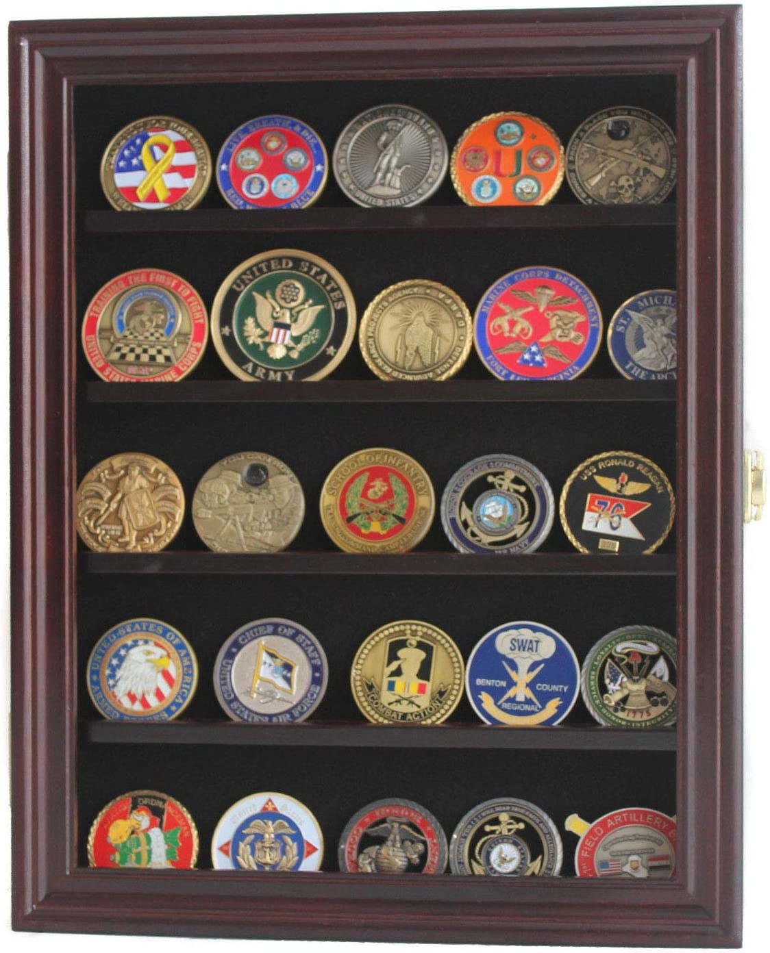 Military Challenge Coin Display Case Cabinet Medal Rack Holder Shadow Box (Mahogany Finish)