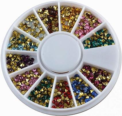 Trncilan Joyas de diamantes de uñas 2mm Color puntiagudo ...